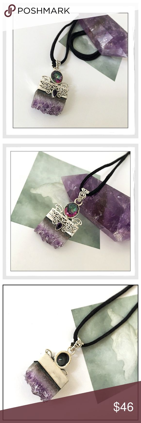 ✨SS 925 Amethyst Stalactite Healing Necklace✨ ✨Beautiful and Vibrant Natural Amethyst has the ability to transform lower energies into higher energies and acts as a healer at all levels of the mind, body, and spirit✨The healing powers of Amethyst date as far back as the Greeks who believed Amethyst protected a person from the intoxicating effects of alcohol✨Amethyst correlates to the crown chakra✨Amethyst acts as a natural form of stress relief✨This crystal attracts positive energy while…