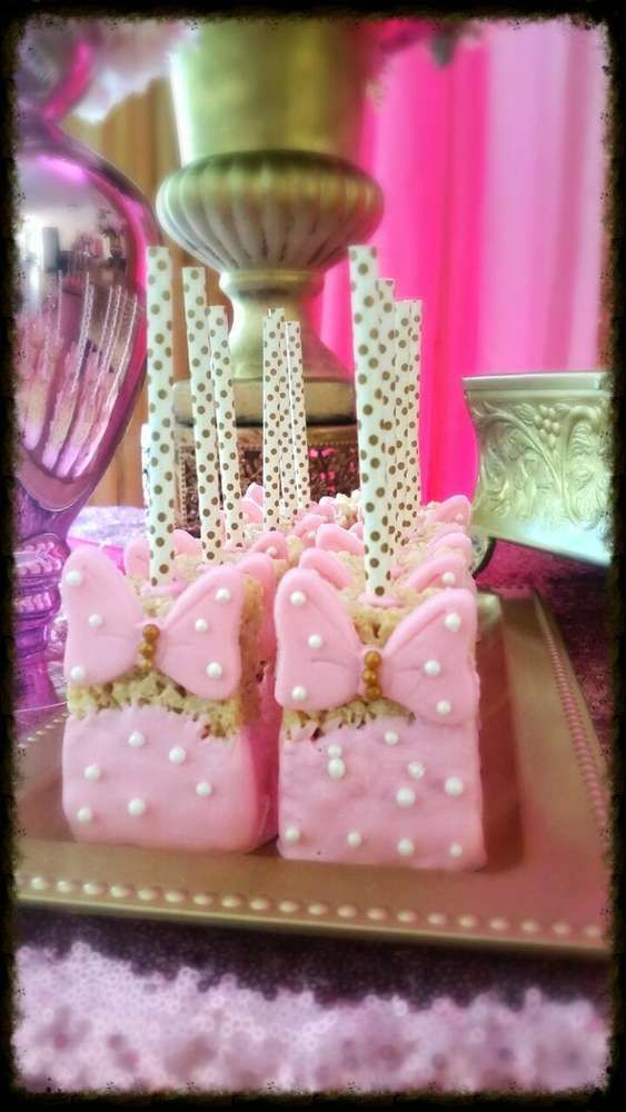 Rice Krispie treats at a royal Minnie Mouse birthday party! See more party planning ideas at CatchMyParty.com!
