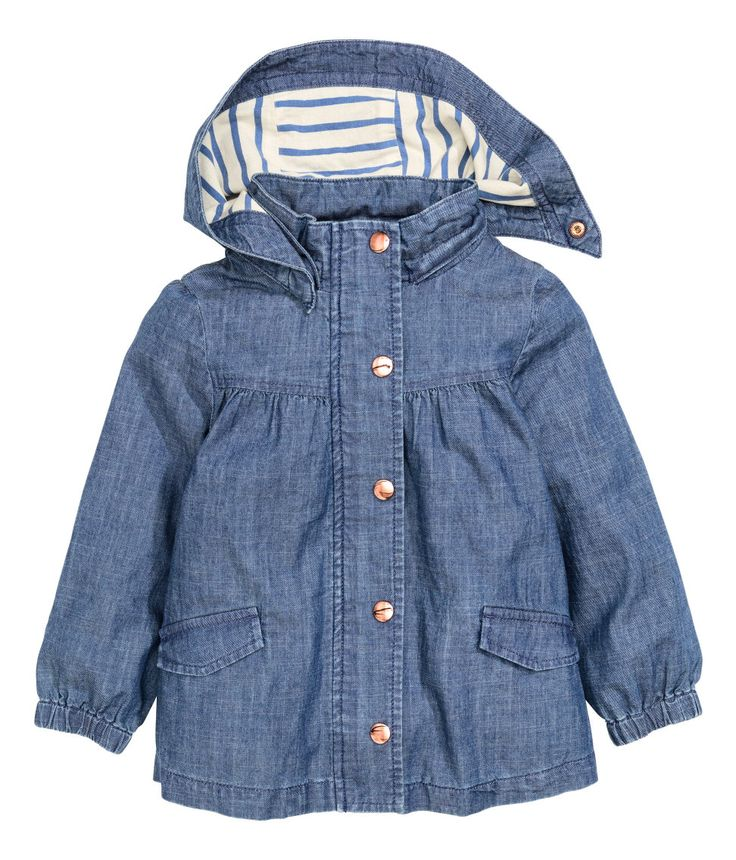 Girls blue jacket with denim effect, detachable lined hood, and front pockets. | H&M Kids