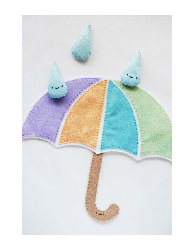 Guarda-chuva de feltro é uma gracinha e fica lindo na decoração