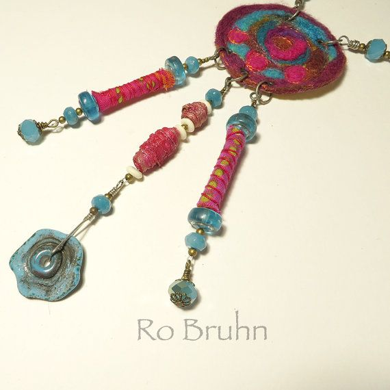 Necklace hand made unique combination of felt and hand by robruhn, $65.00