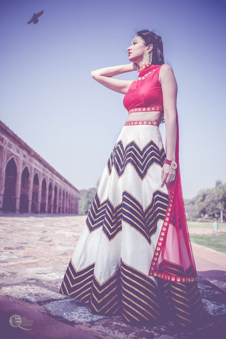 Priyal Prakash White & Black Zigzag #Lehenga With Red #Blouse & Dupatta.