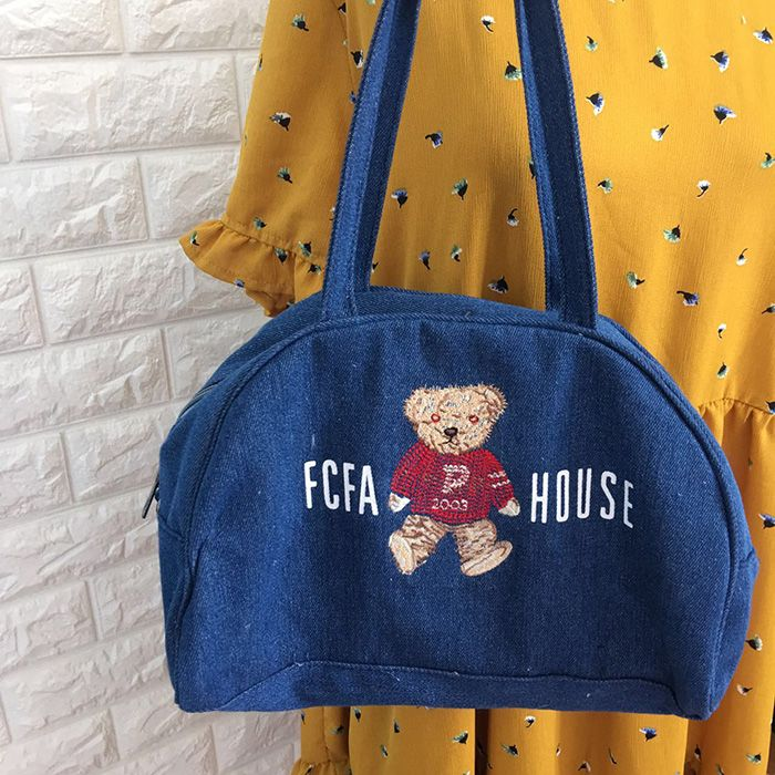 South Korean Womens Vintage Bags Jeans Lovely Bear Cross Shoulder Bag Soft Sister Student Handle Bag Hot Sell Blue Single Bag