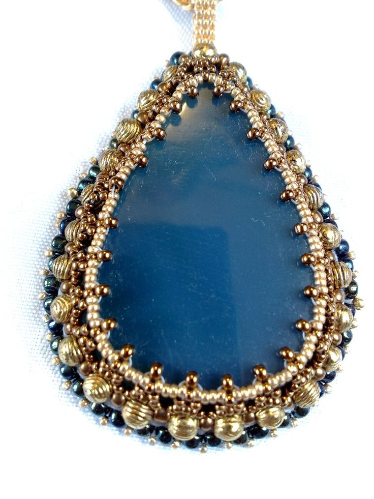 Especially like the gold beads in the bezel |  Agate Pendant | JewelryLessons.com