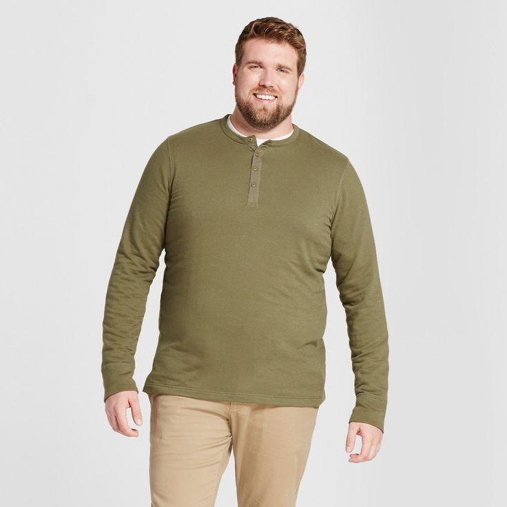 Men's Big & Tall Standard Fit Long Sleeve Micro-Waffle Henley Shirt - Goodfellow & Co Dark Green 4XBT