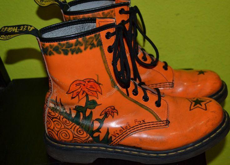 Women's Dr. Marten US 9 1460 W Leather Goth Punk Emo Boots Orange Customized     Kleding en accessoires, Dames: schoenen, Laarzen, laarsjes   eBay!