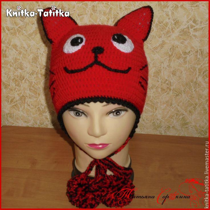 "Купить Шапка ""Кошечка"" - ярко-красный, шапка кошка, шапка крючком, красивая шапка"
