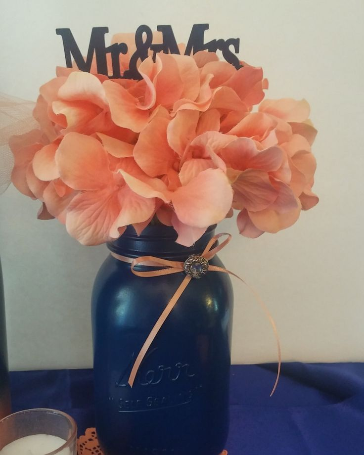 Navy blue mason jar and coral centerpiece by InspiredDesignsbym