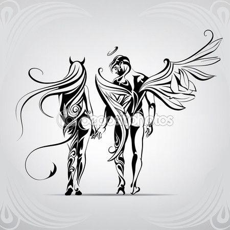 Ángel y demonio en el ornamento — Stock Illustration #67896187