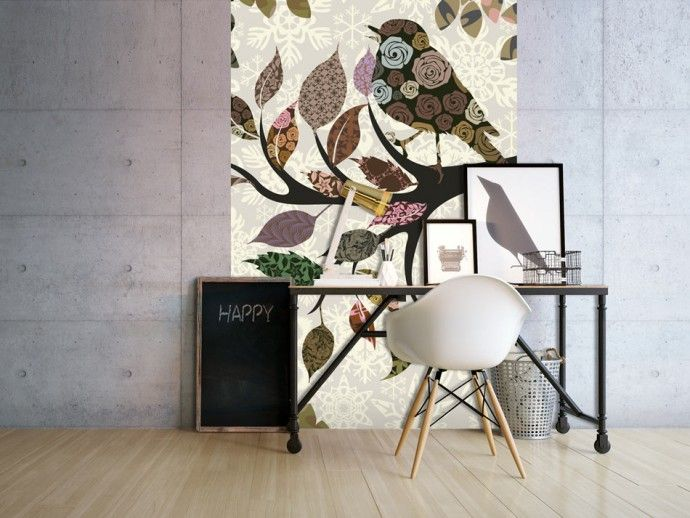 """Decoration with wall mural """"Tree branch with bird"""" #wallpaper #wallpaper #bird #tree"""