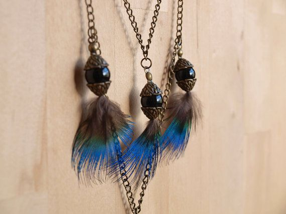 Tribal Necklace Peacock Feather Black and Gold by AtticRoomStudio