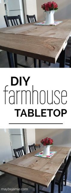 A quick and easy upgrade to your old kitchen table! This DIY farmhouse tabletop is the perfect edition to your home.