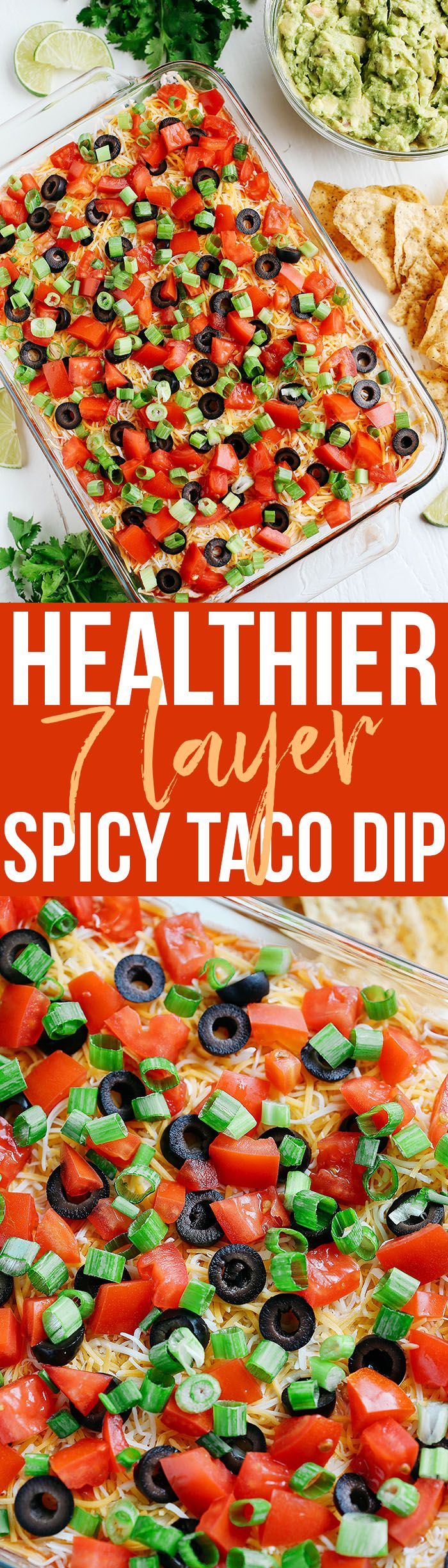 This lightened up 7 Layer Spicy Taco Dip is the perfect party appetizer that you can enjoy guilt-free! Unofficialmeal AD