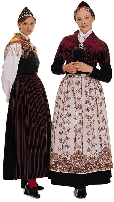 Kvinnedrakt fra Sunnmøre - I prefer the one with long sleeves and the ornately patterned apron over the other one.