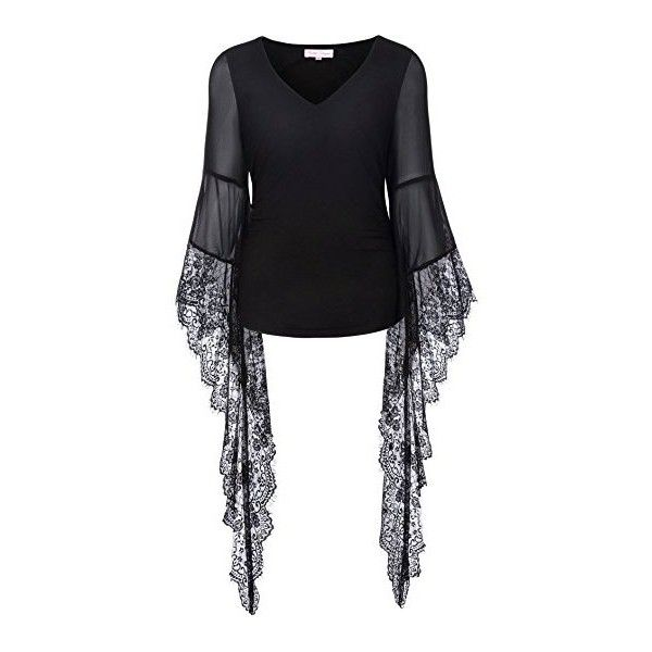 Women Vintage Gothic Lace T Shirt Tops Long Sleeve V-Neck BP000349 (£49) ❤ liked on Polyvore featuring tops, t-shirts, gothic t shirts, lacy tops, long sleeve tees, long sleeve v neck t shirts and longsleeve t shirts