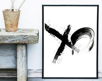 XO print, Minimalist Poster, Scandinavian Print, Abstract Art Print, Giclee print, Modern Wall Art, Black and White Art
