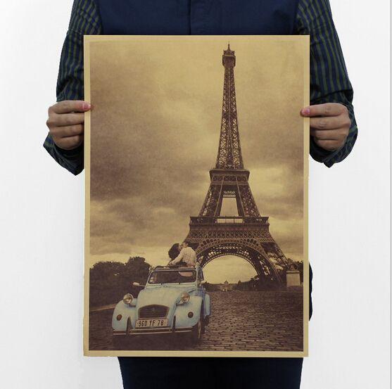 Эйфелева башня / ретро ретро / старый плакат / декоративная живопись ядро 51 x 35.5 см купить на AliExpress