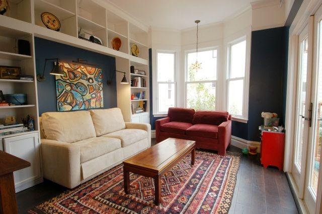 eklektisches Wohnzimmer einrichten Ideen blau