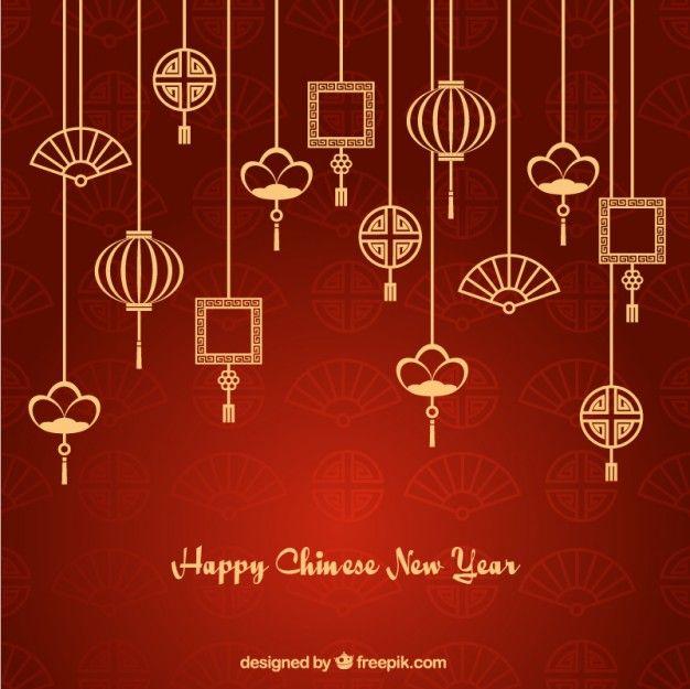 Ornamentos asiáticos guirlandas novo Fundo do ano Vetor grátis