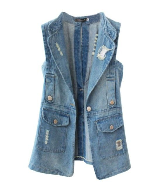 Ripped and Washed Denim Vest