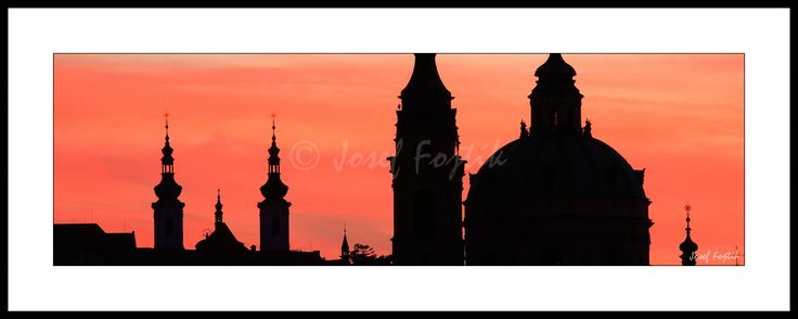 Framed fine art photography - Church of Saint Nicholas on Lesser Town to the right and Strahov Monastery to the left, Prague, Czech Republic. Photo: Josef Fojtik - www.joseffojtik.com