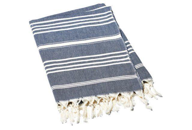 Natural Bath Towel, Navy/Ivory