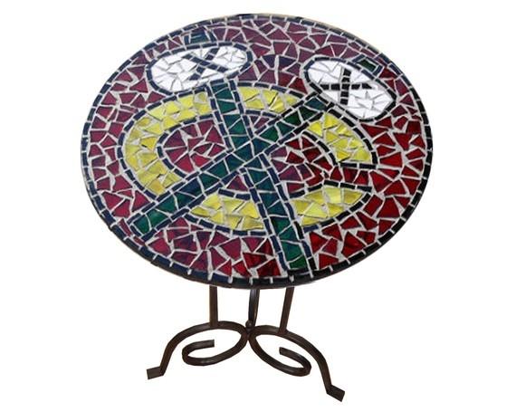 chicago blackhawks hockey broken glass mosaic table top bears cubs sox bulls nhl sports furniture decorative art, artist Jenn Stoltz. $200.00, via Etsy. #blackhawks #table