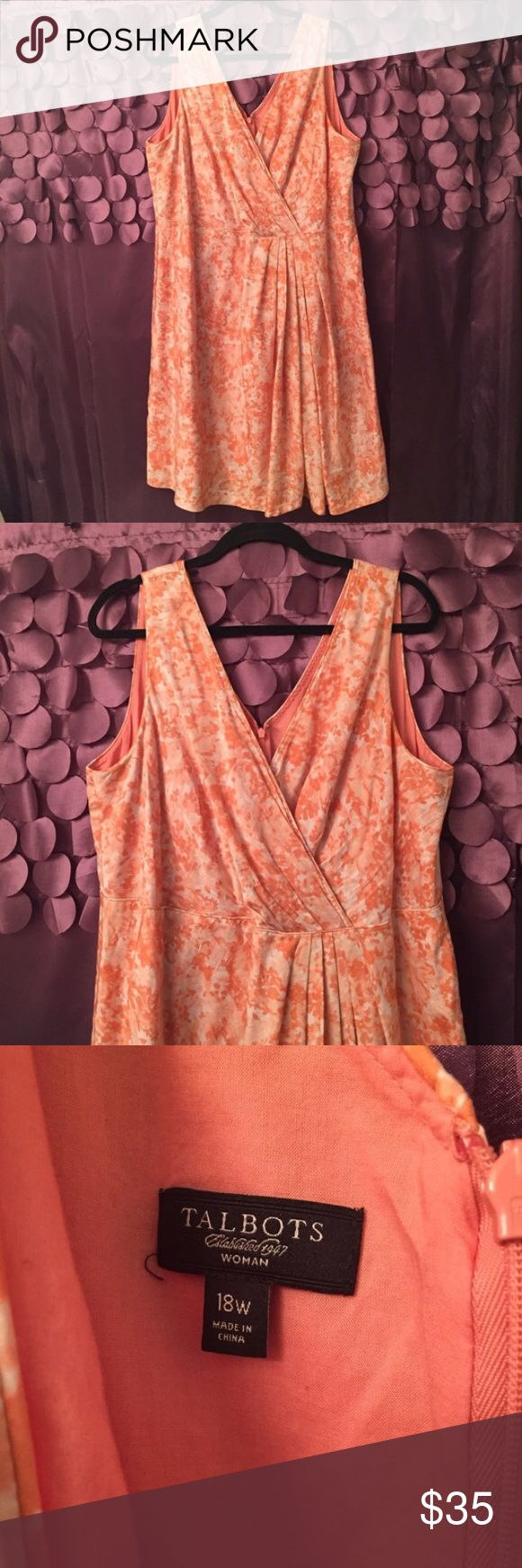 "Talbots Peaches & Cream Plus Size Dress Talbots Peaches and Cream Plus Size Dress. This is a gorgeous dress! It has a beautiful silk like facing with soft peaches and cream print. Incredibly flattering cut especially for curvy women! 17"" invisible zipper at back to close. Talbots Dresses"