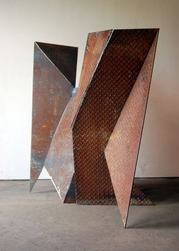 """Twp abstract steel forms; 48"""" x 36"""" x 36"""" (Contemporary Sculpture, Steel, Abstract)"""