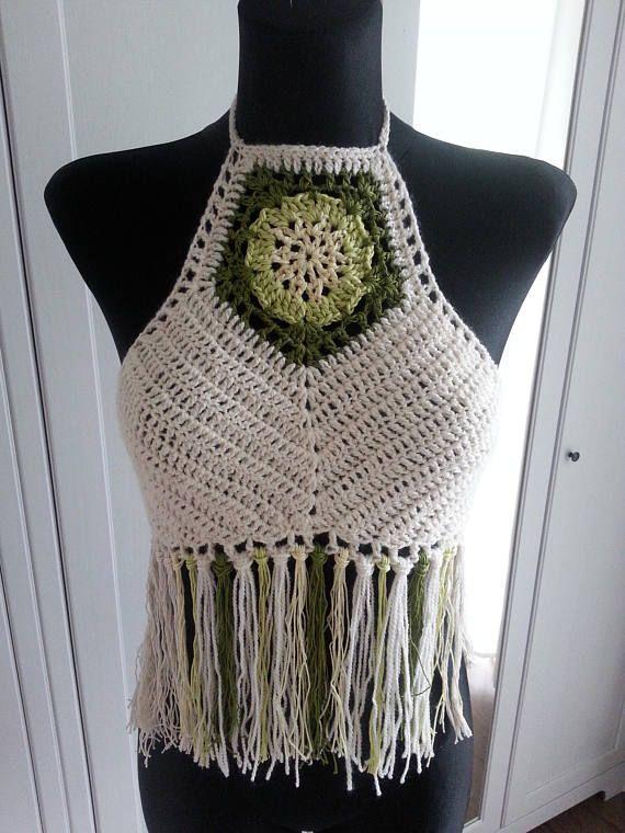 Crochet Halter Top Hippie Boho Pattern Lace Top Bikini Top