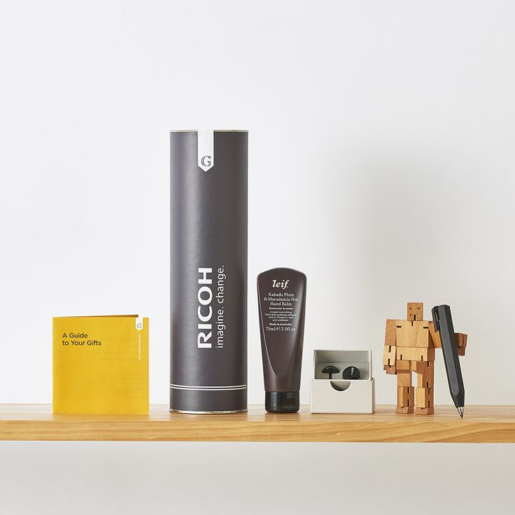 Tailored gift hamper for a Ricoh event with designer products packed in our Mini Goods Tube.