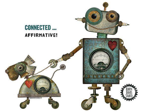 Dog Lover Gift Art Print - Retro Robot art -Dog Gifts - Child & Dog Gift- best Friends gift -Little boy and dog - Robots- Robin Davis Studio
