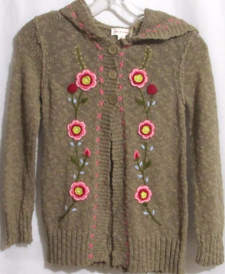 NEW Girls MIMI & MAGGIE Brown Cotton Hand Embroidered Hoodie Sweater S Orig $89 #MimiMaggie #HoodedOpenCardigan #VersatileDressyEveryday