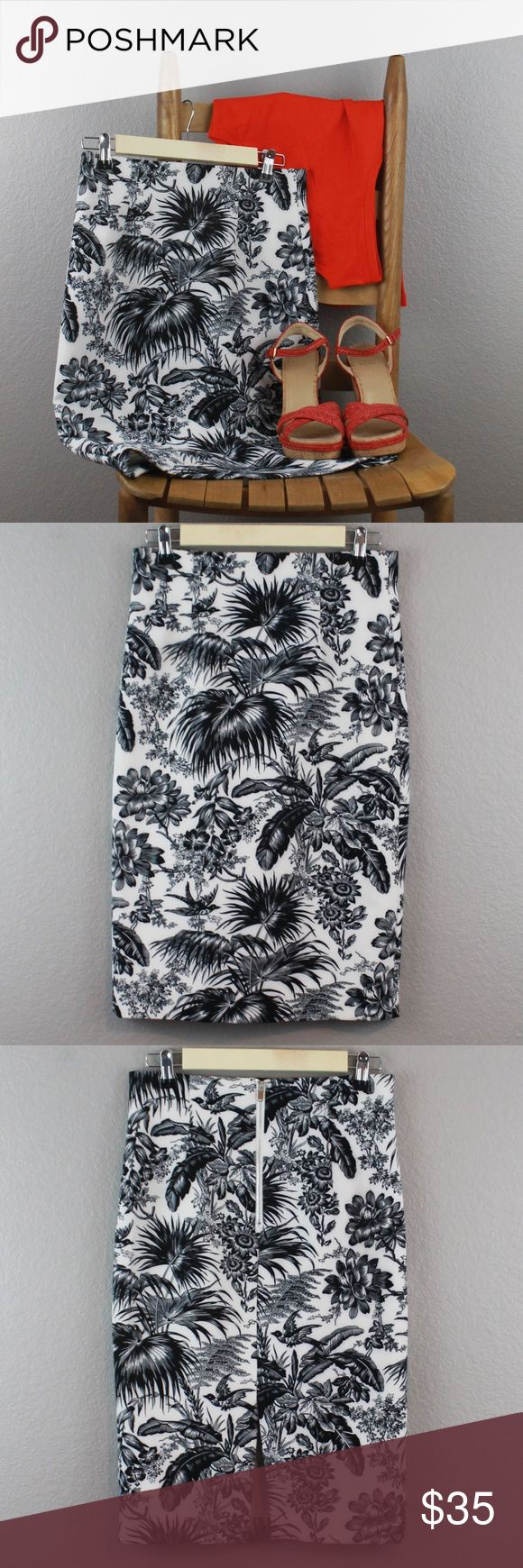 "CATHERINE MALANDRINO | tropical pencil skirt Nothing says professional like a pencil skirt! This tropical white & black piece from Catherine Malandrino will garner compliments around the water cooler, especially when paired with a bright silk tank & colorful heels.  ◆Rear zipper; short rear slit; tropical print; pencil shape; lined  ◆90% poly, 10% spandex ◆Size 2; waist: 28"", hip: 33.5"" (measurements when relaxed)  ◆At knee; length: 25""  ◆Like new condition  SK0011 Catherine Malandrino…"