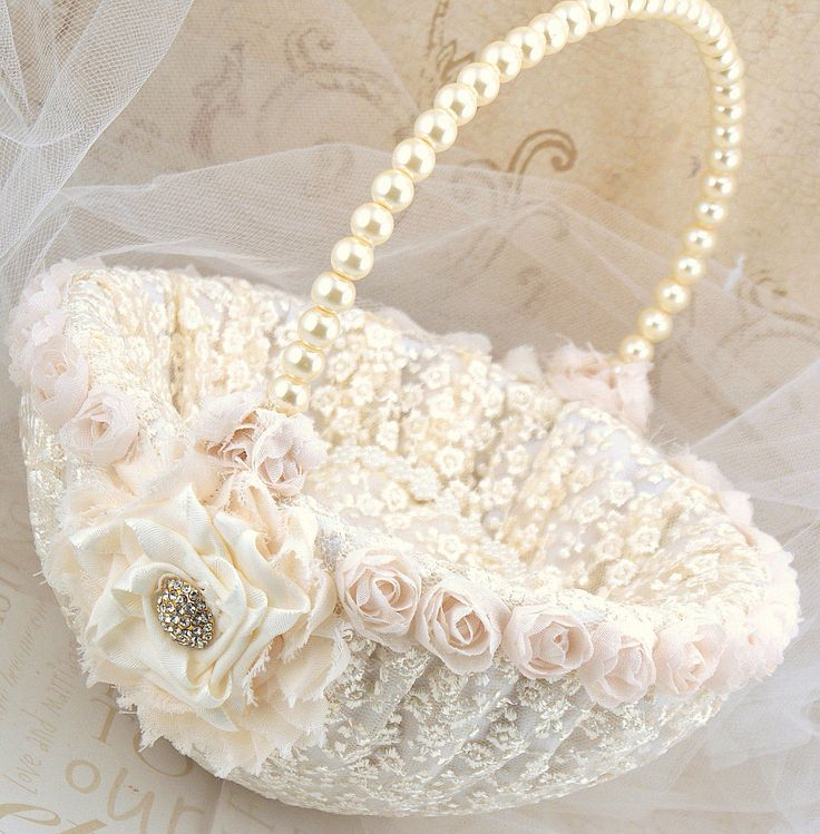 Flower Girl Basket - Bridal Basket in Ivory and Cream with Lace and Handmade Flowers- Vintage Touch. $95.00, via Etsy.
