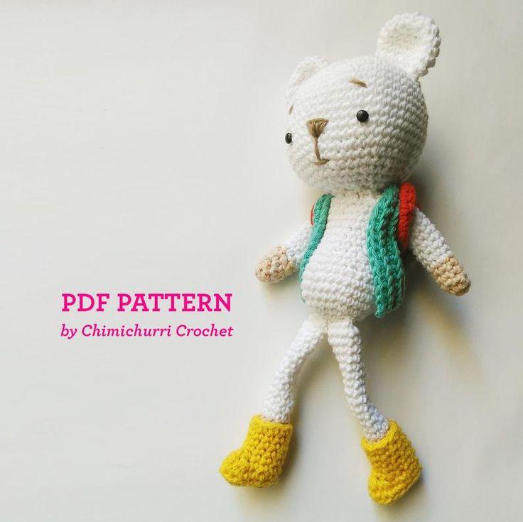 Com este padrão de Crochet Chimichurri você vai ver como fazer um urso Hugo - Patró ...