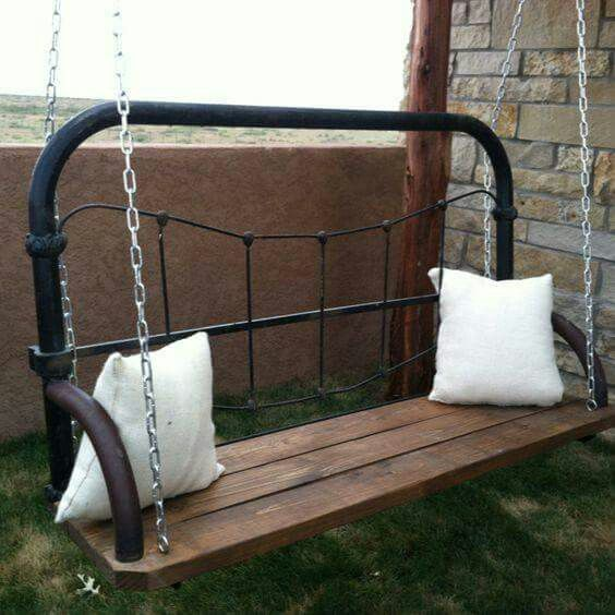Bed frame turned into porch swing