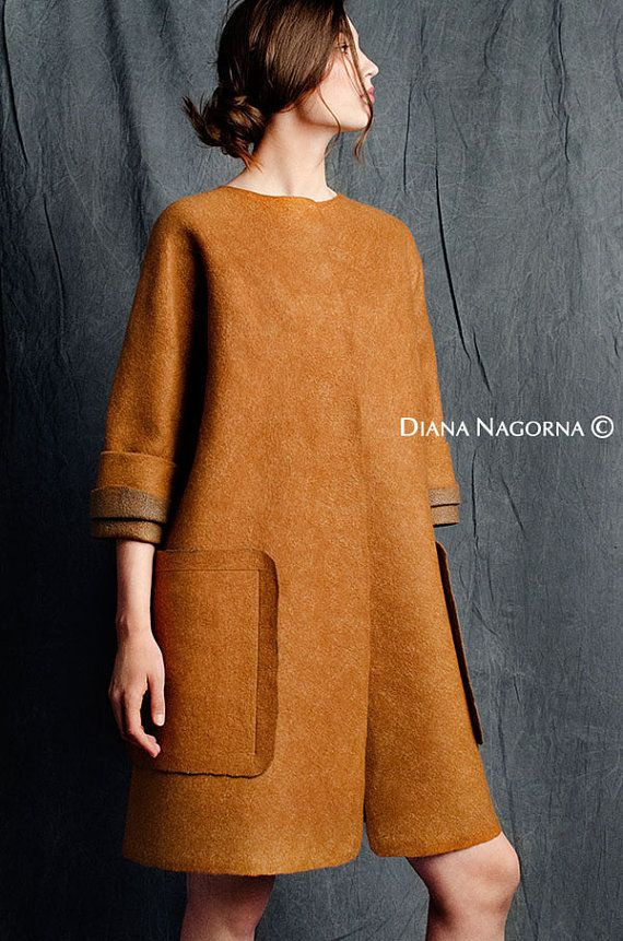 Light spring coat felted coat warm cinnamon color by DianaNagorna