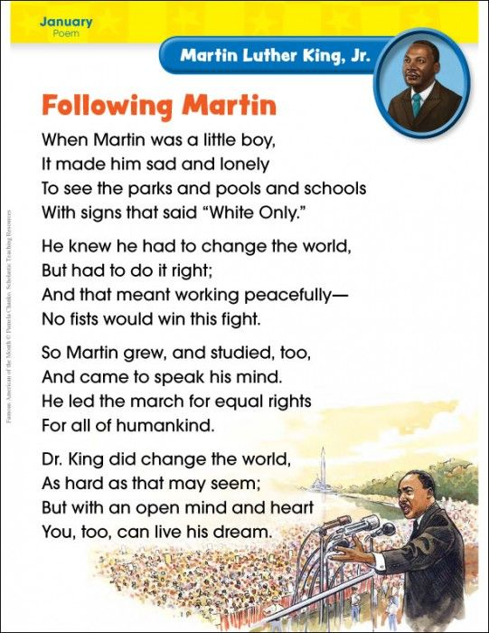 Teach young learners about Martin Luther King Jr. and boost key literacy skills with this read-aloud poem!