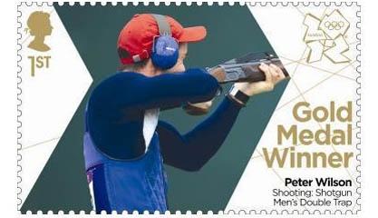 Gold Medal Winner stamp #4 - Shooting: Shotgun Double Trap, Peter Wilson.