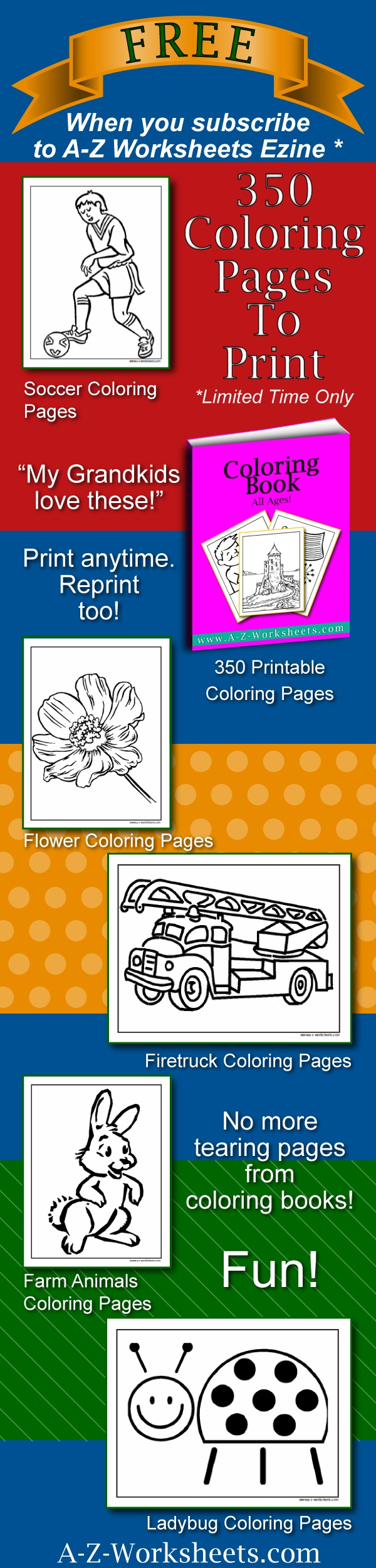 This free bundle of worksheets has lots of great music coloring pages! The whole bundle is free if you sign up for their ezine! It's perfect for both teachers and parents. It's only offered for a limited time so be sure to subscribe now so as not to miss this great opportunity :) You'll love their site. They have thousands of free worksheets for kids!