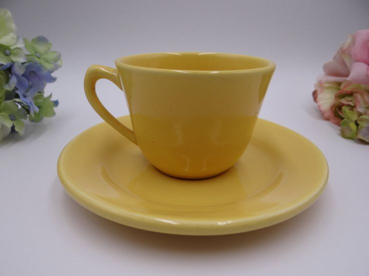 Vintage 1930s Bauer Pottery Los Angeles Plain Ware Canary Yellow Teacup and Saucer – 2 Available