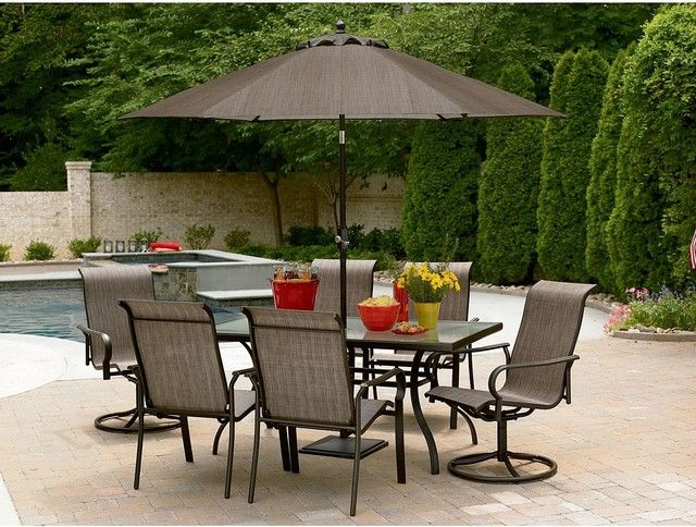 Contemporary Patio Furniture Sets With Umbrella And Pool
