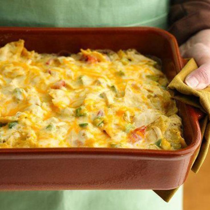 Rotel Mexican Chicken Casserole- I didn't have soup or chile's so I sub'd in green chile enchilada sauce and red pepper flakes. Delicious and the family loved it. A keeper!