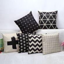 Estilo preto e branco simples malha franja almofada de linho OEM decorativa sofá de casa de carro cadeira lance personalizado(China (Mainland))