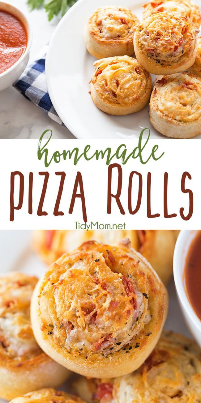 A family favorite! Homemade pizza rolls put a new spin on pizza night! Stuffed with cheese and pepperoni what's not to love about a pizza pinwheel?  Watch the quick recipe video + print the recipe at TidyMom.net