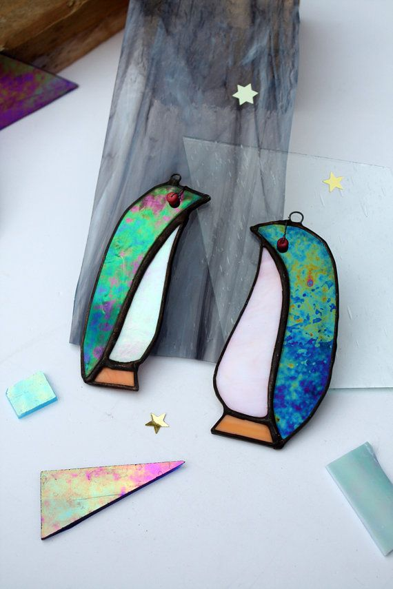 GLASS PENGUIN - Iridescent Stained Glass - Christmas Decoration - Cute Gift - Window, Wall Hanging Ornament