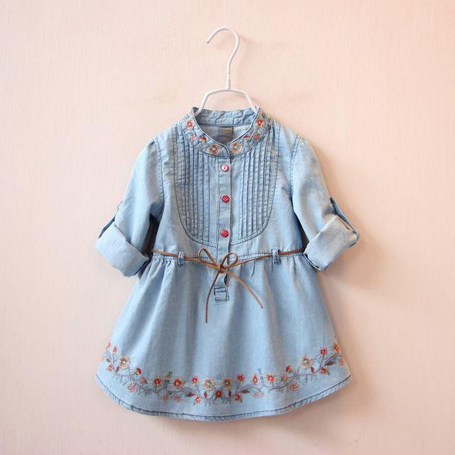 2016 ilkbahar yaz kızlar uzun kollu gömlek işlemeli kot kot kemer elbise tatlı kız elbise prenses Elbise bebek kız giysileri