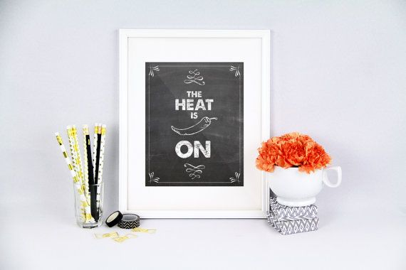 Kitchen pun The heat is on jalapeno hot by PureJoyPrintables