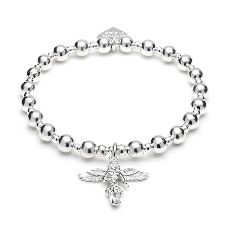 Chunky and classic, our Orchid Silver Charm Bracelet with 'My Guardian Angel' charm